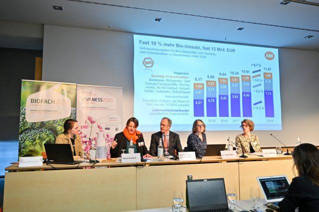 Branchen-Eröffnungspressekonferenz Von links nach rechts: Joyce Moewius, Diana Schaack, Dr. Felix Prinz zu Löwenstein, Dr. Helga Willer, Louise Luttikholt